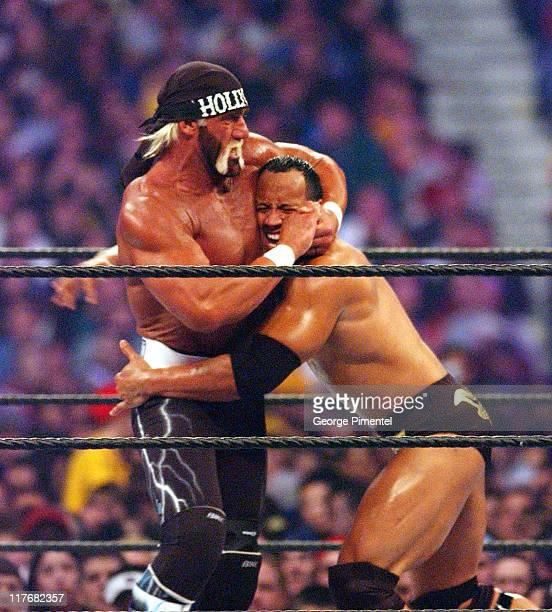Hollywood Hulk Hogan and The Rock at Wrestlemania X8