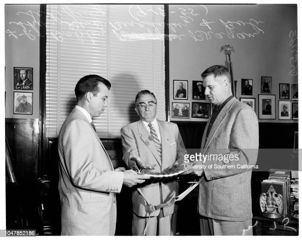 Hollywood LA Angels Baseball Series coin flip 12 September 1955 Bobby BraganSheriff Eugene BiscailuzBob Scheffing Caption slip reads 'Photographer...