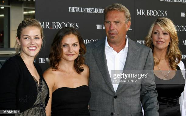 Hollywood Lily Costner Annie Costner Kevin Costner and wife Christine Baumgartner attend Los Angeles Premiere of 'Mr Brooks' held at the Grauman's...