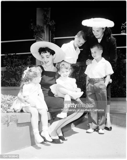 Hollywood mothers of twins 25 April 1958 Susan and Sherry SmithSteven and Robert JonesMrs Andrew SmithMrs Warren Jones Sleeve reads Caption slip...