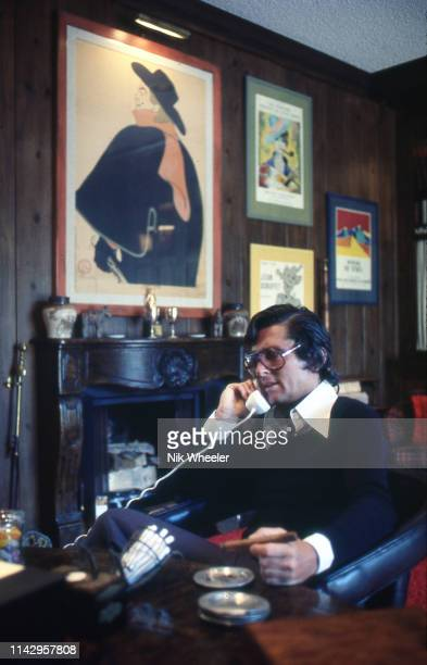Hollywood movie producer Robert Evans sits on telephone in his home office in beverly Hills california circa 1978