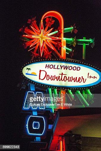 Hollywood Neon Sign At Night Los Angeles California Usa