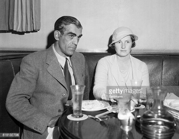 Night clubbing With Filmland's Favorites Boris Karloff noted screen villain famous for his shuddery characterizations seen with Mrs Karloff on a...