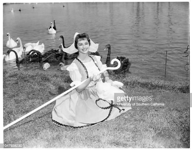 Hollywood Park Goose Girl 28 April 1959 Marilyn Ness Goose girlNorma Jean Jani 25Jay Wymond 21Margo Marie Shaffer 21 Caption slip reads 'Photographer...
