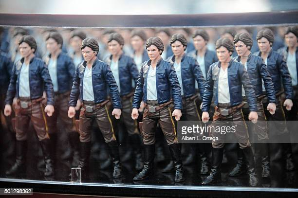 Hollywood Prepares For The Premiere Of Walt Disney Pictures And Lucasfilm's 'Star Wars The Force Awakens' Han Solo action figures on display on the...