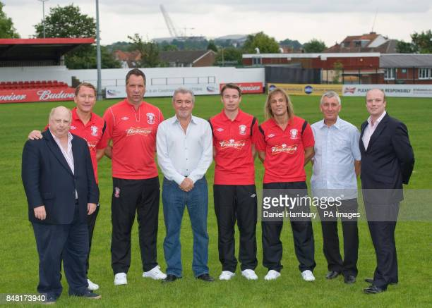 Hollywood producer Evan Weinstein with Wembley FC new signings Ray Parlour David Seaman technical advisor Terry Venables Graeme Le Saux Claudio...