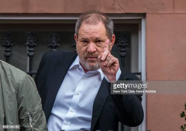 Hollywood Producer Harvey Weinstein who is being accused of sexual assault by 22yearold Italian model Ambra Battilana leaves his apartment in the...