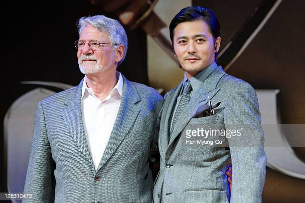 """Hollywood producer of the motion picture 'Lord of the Rings', Barrie Osborne and South Korean actor Jang Dong-Gun attend """"The Warrior's Way"""" press..."""
