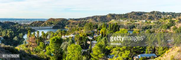 hollywood reservoir - mulholland drive stock photos and pictures