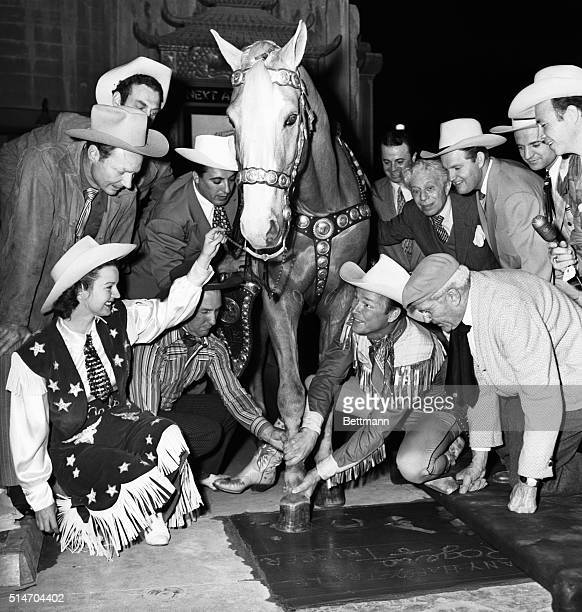 Roy Rogers recently became the first Western star in 22 years to be honored at Grauman's Chinese theater in Hollywood He placed his foot and hand...