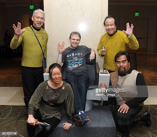 Hollywood SciFi Museum Huston Huddelston and Star Trek cosplayers Mark Lum David Cheng and Bill Arucan attend The Hollywood Show held at The Westin...