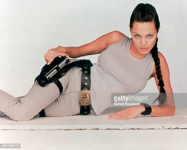 Hollywood screen goddess Angelina Jolie and star of 2001 movie 'Lara Croft Tomb Raider' directed by Simon West