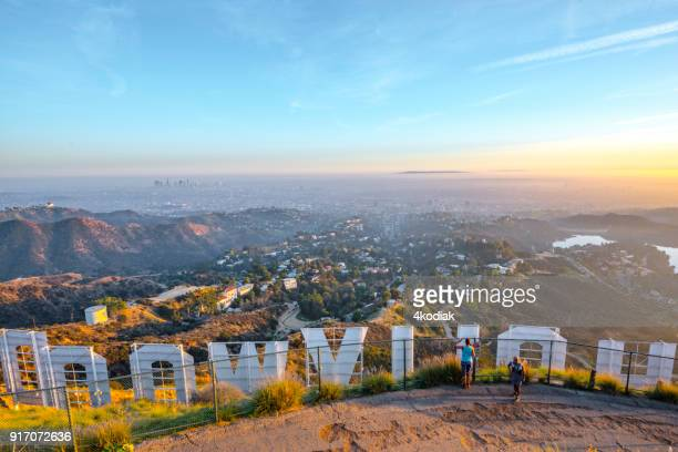 hollywood sign and los angeles looking from behind - mulholland drive stock photos and pictures