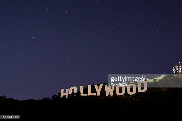 Hollywood sign and stars at night, hollywood hills, California