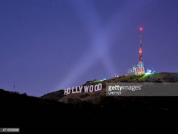 hollywood sign at night - hollywood sign stock pictures, royalty-free photos & images