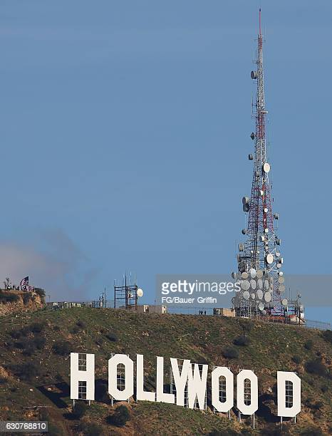 Hollywood Sign Standoff protesters carrying the American Flag on January 01 2017 in Los Angeles California