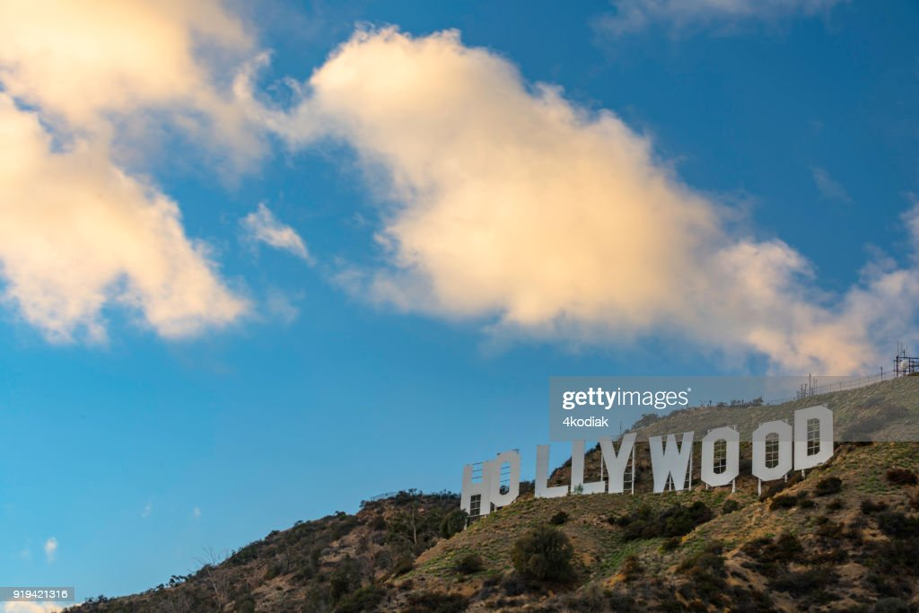 Hollywood Sign with sunset cloud : Stock Photo