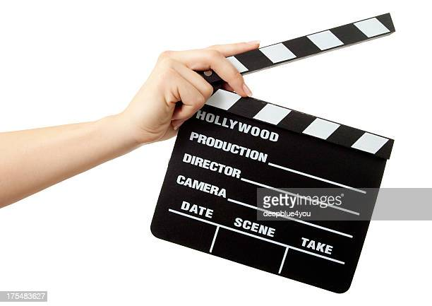Hollywood Slate board in woman hand isolated