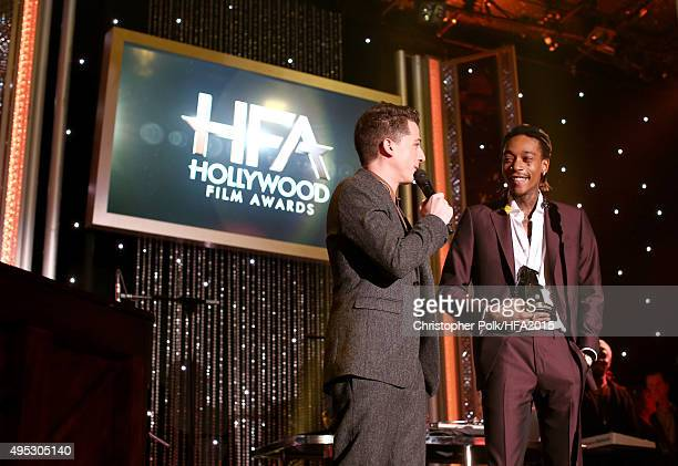 Hollywood Song Award honorees Charlie Puth and Wiz Khalifa speak onstage at the 19th Annual Hollywood Film Awards at The Beverly Hilton Hotel on...