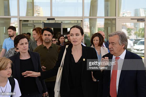Hollywood star and UN High Commissioner for Refugees Goodwill Ambassador Angelina Jolie her daughter Shiloh JoliePitt and Antonio Guterres United...