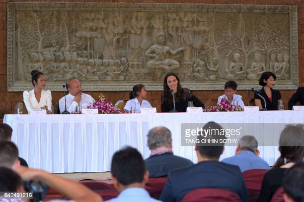 Hollywood star Angelina Jolie speaks to media during a press confernce at a hotel in Siem Reap on February 18 2017 Angelina Jolie will unveil her new...