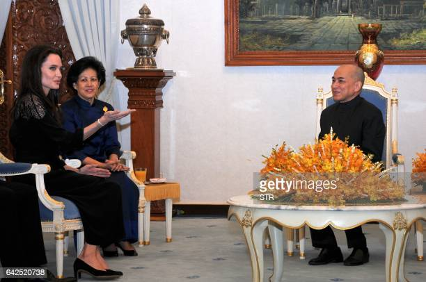 Hollywood star Angelina Jolie talks during an audience with Cambodian King Norodom Sihamoni at the royal residence in Siem Reap on February 18 2017...