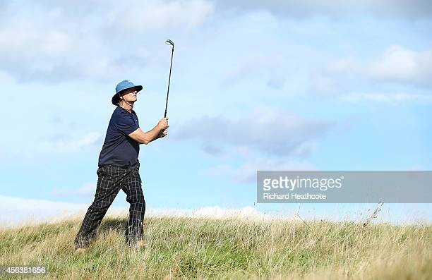 Hollywood star Bill Murray in action during the practice round prior to the 2014 Alfred Dunhill Links Championship at The Old Course on September 30...