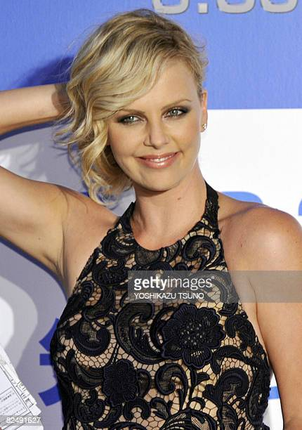 Hollywood star Charlize Theron poses for photo on a red carpet at Japan premier of her latest movie 'Hancock' at a Tokyo theater on August 21 2008...