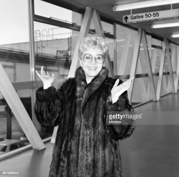 Hollywood star Debbie Reynolds is pictured arriving at London's Heathrow Airport from Los Angeles 11th May 1985