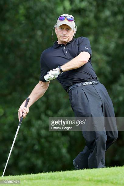 Hollywood star Michael Douglas reacts during the second round of The JP McManus Invitational ProAm event at the Adare Manor Hotel and Golf Resort on...