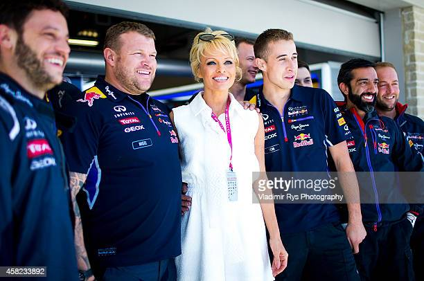 Hollywood Star Pamela Anderson visits Infiniti Red Bull Racing team garage ahead of qualifying for the United States Formula One Grand Prix at...