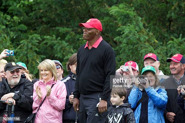 Hollywood star Samuel L Jackson reacts during the second round of The JP McManus Invitational ProAm event at the Adare Manor Hotel and Golf Resort on...
