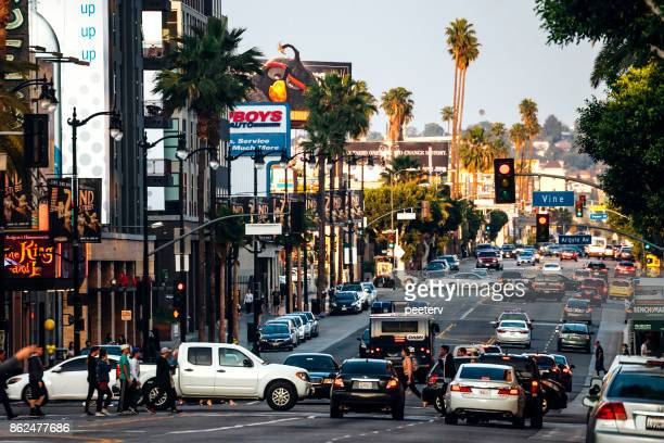 hollywood traffic - los angeles - hollywood california stock pictures, royalty-free photos & images