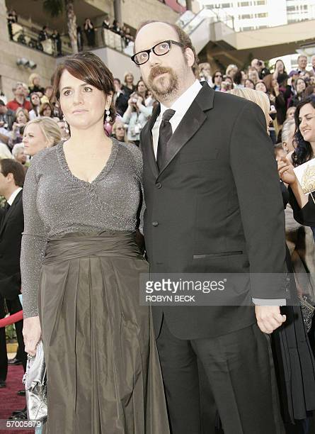 Actor Paul Giamatti arrives with his wife Elizabeth Cohen 05 March 2006 for the 78th Academy Awards to be presented at the Kodak Theater in Hollywood...