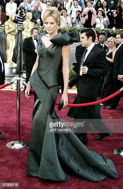 Actress Charlize Theron arrives 05 March for the 78th Academy Awards to be presented at the Kodak Theater in Hollywood California Theron is nominated...
