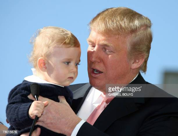 Donald Trump delivers a speech with his son Barron after he was honored with the 2327th star on the Hollywood Walk of Fame on Hollywood Boulevard in...
