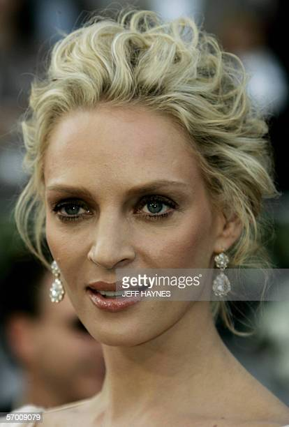 US actress Uma Thurman arrives 05 March for the 78th Academy Awards to be presented at the Kodak Theater in Hollywood California AFP PHOTO/JEFF HAYNES