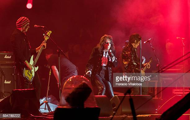 Hollywood Vampires an American rock supergroup formed in 2015 by Alice Cooper Johnny Depp and Joe Perry performs during the third day of Rock in Rio...