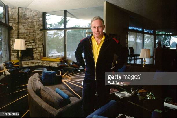 Hollywood veteran Charlton Heston relaxing in his Beverly Hills home April 6, 1989