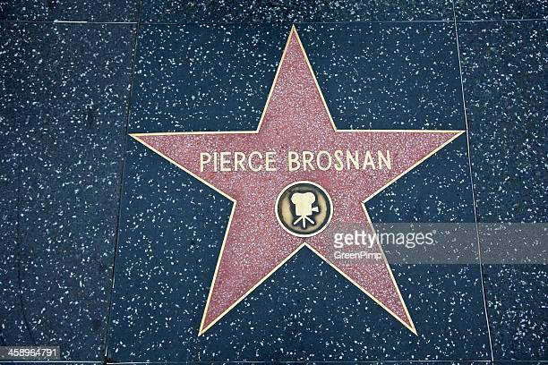 hollywood walk of fame star pierce brosnan - brosnan stock photos and pictures