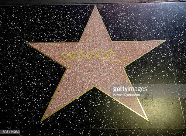 Hollywood Walk of fame star with a graffiti of musician Prince is seen on Hollywood Boulevard in memory of legendary singer on April 21 in Los...
