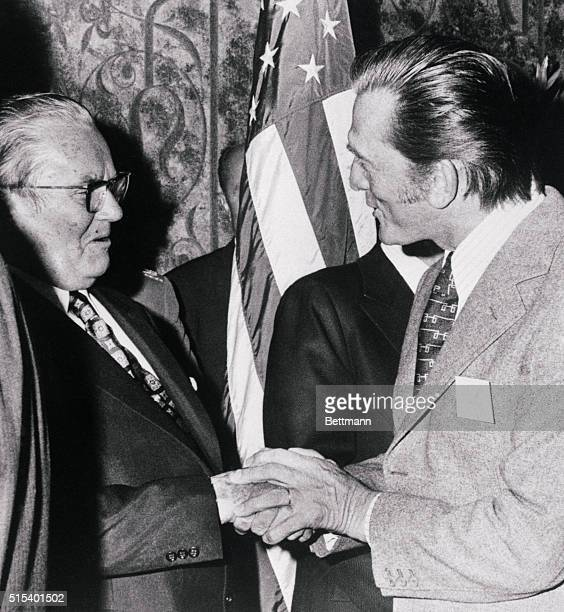 Yugoslavian President Josip Broz Tito chats with actor Kirk Douglas at a reception hosted by the Motion Picture and Television Producers in honor of...