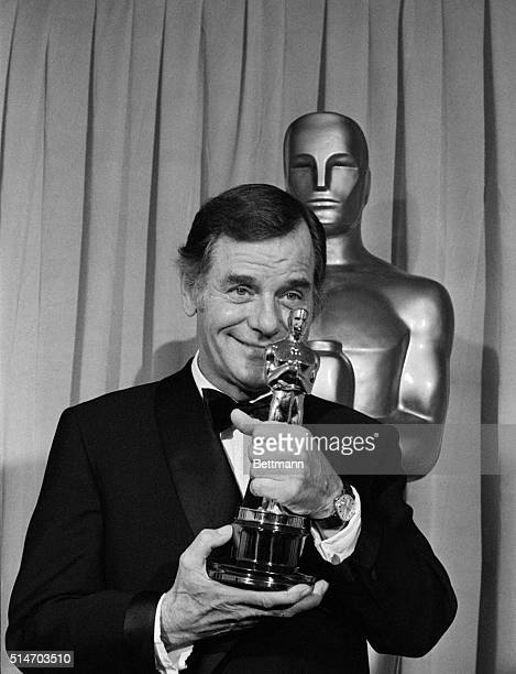 """Hollywood:Actor Gig Young holds his """"Oscar"""" which he received as best supporting actor for his role in """"They Shoot Horse, Don't They,"""" at the 42nd..."""