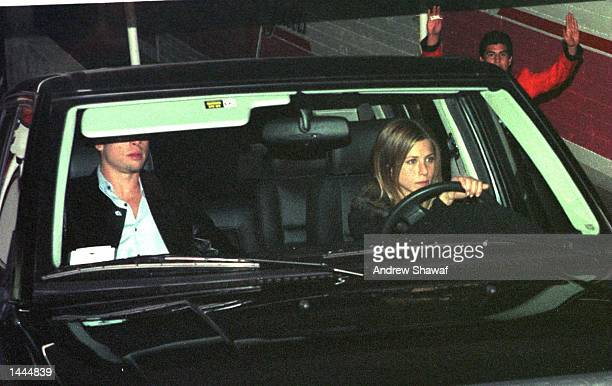 Hollywood''s hottest couple Jennifer Aniston and Brad Pitt leave The Barfly nightclub where he threw a big birthday party for her February 6 1999 in...