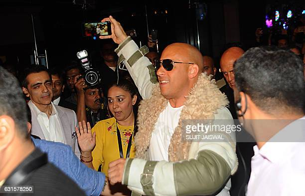 Hollywood's US actor producer director and screenwriter Vin Diesel poses as he attends the premiere of his Hollywood action thriller film xXx Return...