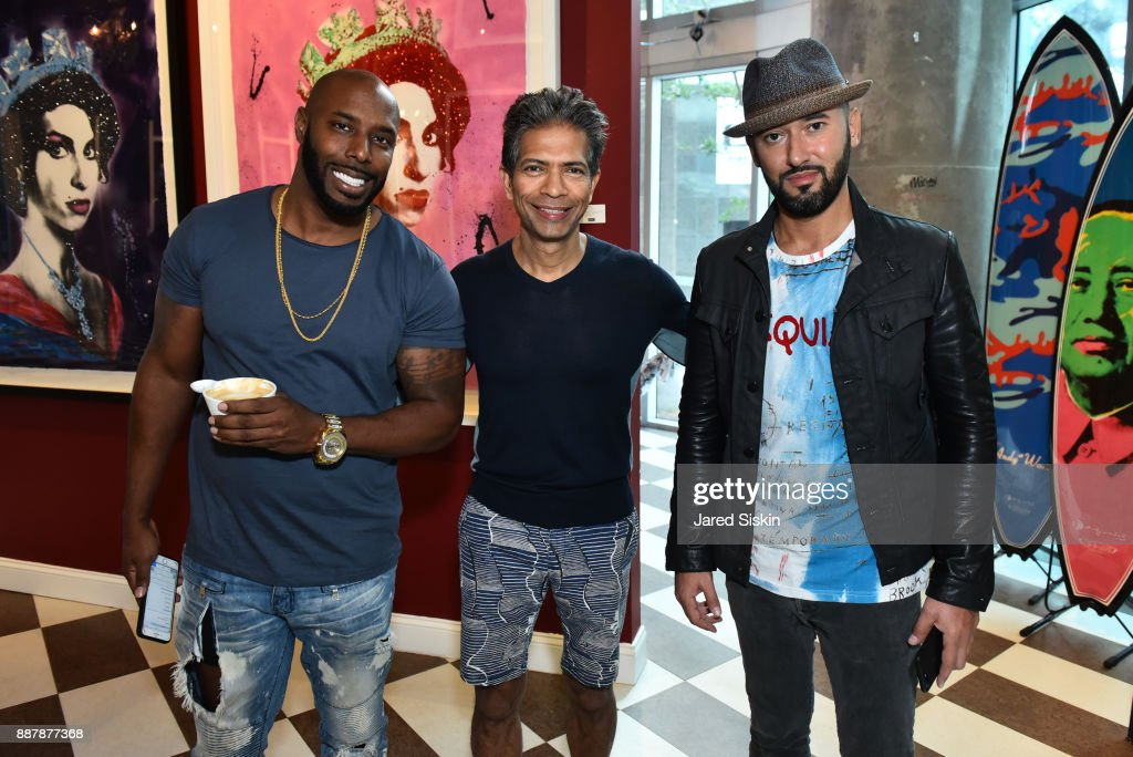 Holman Arthurs, Neel Shukla and Dmitry PrutÊ attend Avant Gallery Celebrates 10th Anniversary With The First Breakfast At LaMuse Cafe During Art Basel on December 7, 2017 in Miami, Florida.
