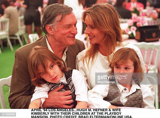 Holmby HillsApril 1994Hugh Hefner With His Wife Kimberley And Two Children At His HomeThe Playboy Mansion