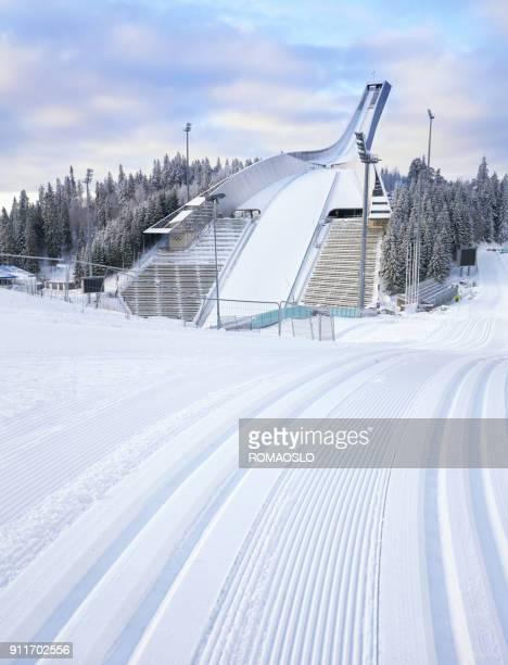 Holmenkollen ski arena in the winter, Oslo Norway