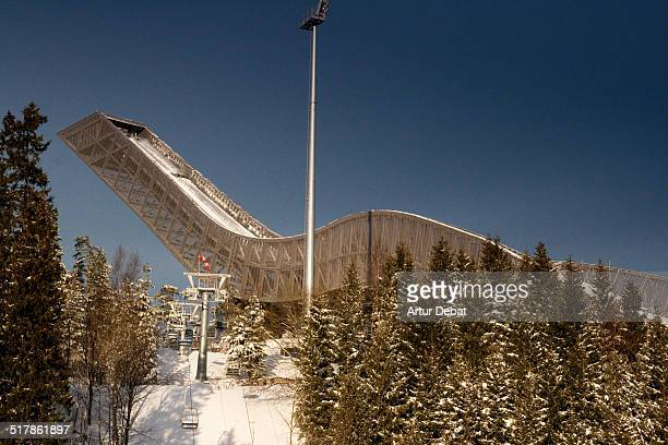 Holmenkollen ski jump with nice architecture and snowy landscape Norway Europe