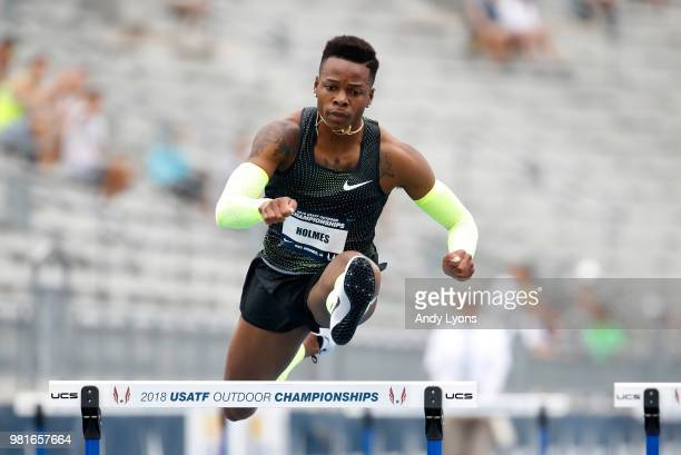 Holmes clears a hurdle in the semifinals of the Mens 400 Meter hurdles during day 2 of the 2018 USATF Outdoor Championships at Drake Stadium on June...